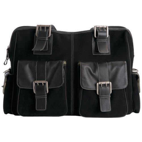 Jill-e Leather and Black Suede Rolling Camera Bag Large (Black) - 769398