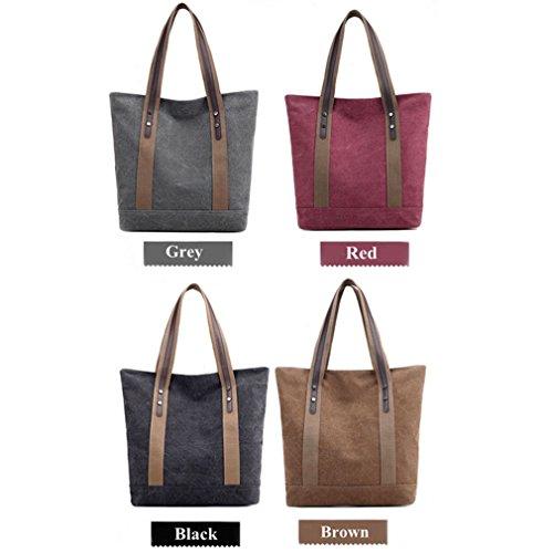 Retro Shoulder Canvas Purses Handbags Women's Bags Black Casual Tote qxZI1CwzC