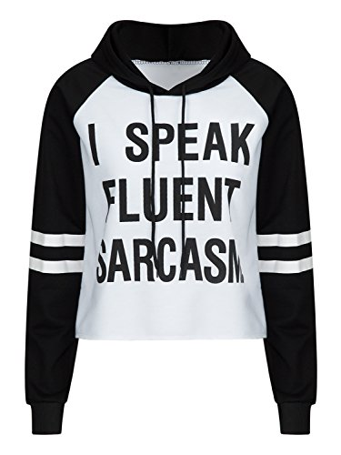 Clothink Women White Letter Print and Stripe Long - Cute Hoodie For Teen Girls