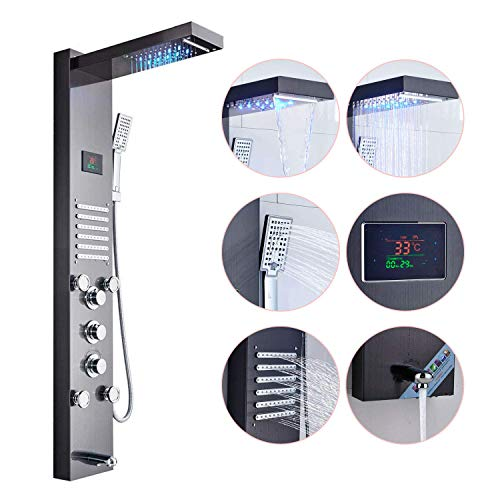 Zovajonia LED Light Rainfall Waterfall Shower Head Rain Massage System with Body Jets & Hand Shower Stainless Steel Bathroom Shower Panel Tower System Wall ()