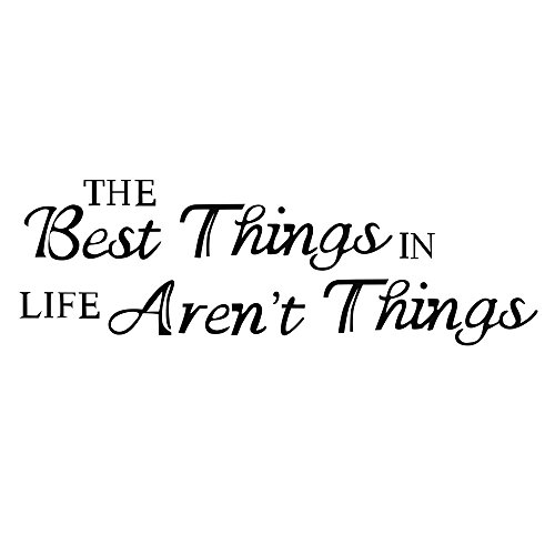 MONsin The Best Things in Life aren't Things Vinyl Lettering Family Wall Words - Life Wall Decal Wall Vinyl Sayings Inspirational Wall Quotes (Black)