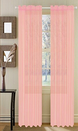Elegant Comfort 2 Piece Solid sheer 60 x 84 Window Curtains/Drape/panels/treatment, Light Pink by