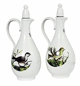 Portmeirion Birds of Britain Earthenware 8-Inch Oil and Vinegar Set