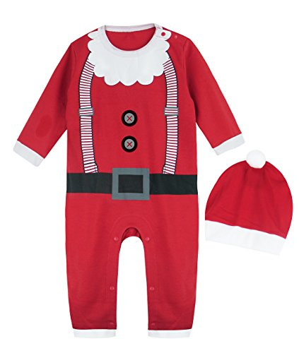 A&J DESIGN Toddler Boys' Christmas Santa Claus Costume Romper with Hat (12-18 Months, Christmas -