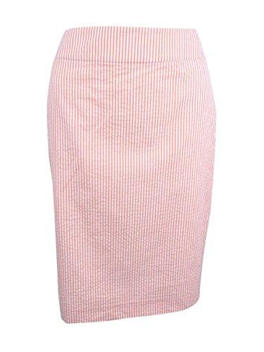 Nine West Women's Striped Straight Seersucker Skirt Oranges