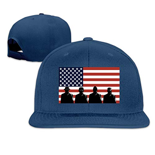 (ONE-HEART HR Baseball Cap Veteran's Day US Flag Adjustable Custom Flat Peaked Hat Unisex)
