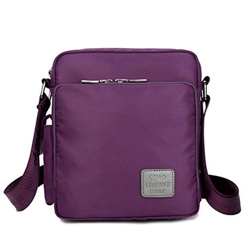 Mecooler Vintage Messenger Bag Pequeñas Bolso Bandolera Mujer Bolsos Hombre Nylon Bolsos para Libro Bolsas de Viaje Escolares Bolsa Tablet Morado