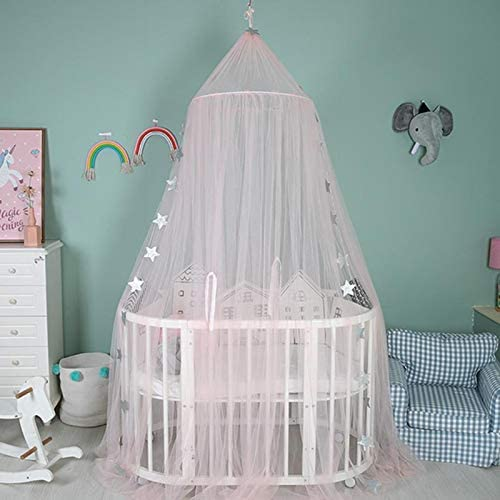Cotton Mosqutio Net Hanging Curtain Renquen Baby Indoor Outdoor Play Reading Tent Bed Canopy for children Insect Net Protection Bed Bedroom Decoration Pink