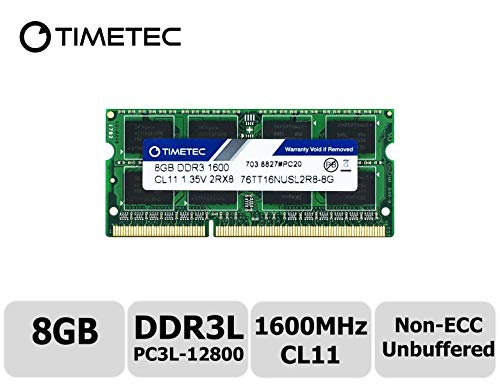 Timetec Hynix IC 8GB DDR3L 1600MHz PC3L-12800 Non ECC Unbuffered 1.35V CL11 2Rx8 Dual Rank 204 Pin SODIMM Laptop Notebook Computer Memory Ram Module Upgrade(8GB) (Memory Computer Laptop Upgrades)
