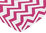 Sweet Jojo Designs Fitted Crib Sheet for Hot Pink and White Chevron Collection Baby/Toddler Bedding - Zig Zag Print