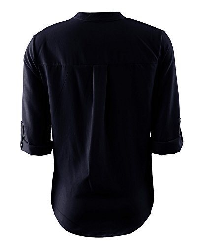 Printemps Casual Col Femme Tops Noir Chemise Blouse Lache Outwear Manche Longue Runyue Uni V Shirt wf1aBUUq