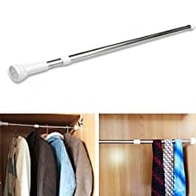 Curtain Rod, 50-80 cm Extendable Telescopic Shower Curtain Tension Rod Stainless Steel Rail Bath Closet Hanging Pole