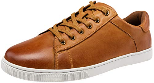 - JOUSEN Men's Leather Fashion Sneakers Business Casual Shoes for Men (10,Tan)