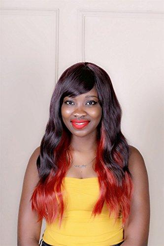 Perruque sexy Femmes Long Naturel Cheveux ondulés bouclés Rouge Mixte Couleur