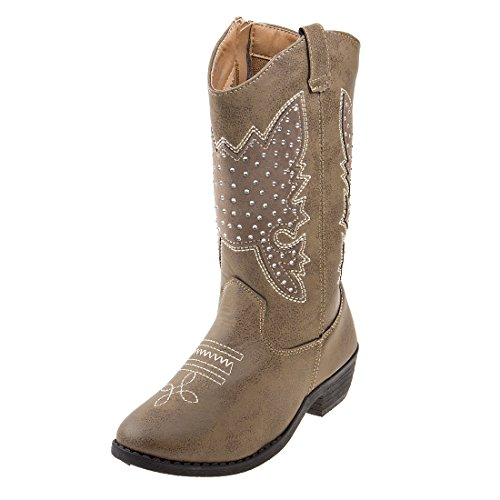 Kensie Girl Girls Western Cowboy Boot, Taupe Studs, Size 3 Big Kid'