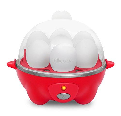 Elite Cuisine EGC-007R Maxi-Matic Egg Poacher & Egg Cooker with 7 Egg Capacity, Red