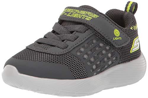 Skechers Kids Boys' DYNA-Lights Sneaker, Charcoal/Yellow, 10 Medium US Toddler (Shoes Skechers Light)