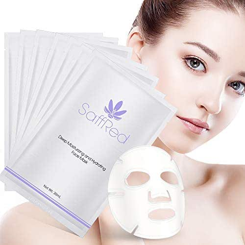 SaffRed Deep Moisturizing and Hydrating Facial Mask | Beauty Mask Sheet | Intensive Hydration and Recovery | Locks Moisture, Protects Skin from Drying| Creates Skin Tension | 30 ml × 6 sheets