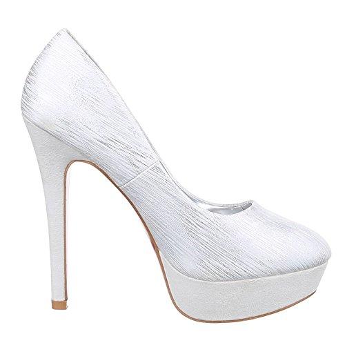 Ital Mujer Design plateado de Zapatos Tacón H6qHf