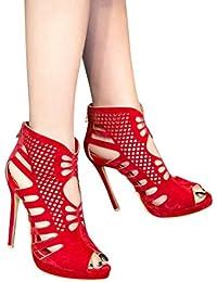 Womens Peep Toe Cut Out Summer Booties With Zipper Ankle Boots High Heels Stilettos Platform Shoes