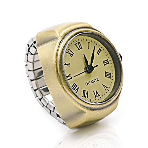 Vintage Ring Watch - DreamsEden Round Fashion Roman Numerals Finger Watch with Gift Box and Greeting Card ()