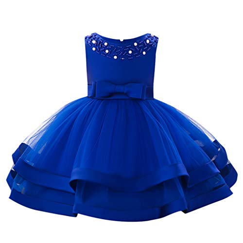 Sunhusing Baby Sleeveless O-Neck Pearl Decor Bow High Waist Double-Tulle Gown Princess Tutu ()