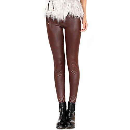 Hot LOCOMO High Rise Matte Semi Glossy Plain Color PU Leather Legging FFT215DBLU supplier