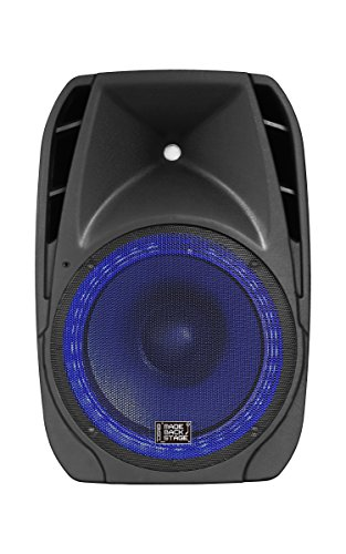 DS18 MB-PW15BTLED 15-Inch 2-Way 2,000 Watts Active Speaker with Remote/Bluetooth/MP3/USB/SD/FM Radio and LED Accent Lights by DS18
