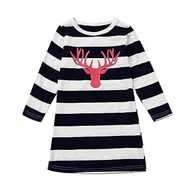 Womens Striped Christmas Reindeer Printed Long Sleeve Loose Swing A-Line Dress Mum+Me HTDBKDBK Christmas Dress//Skirt
