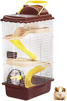 Hamster Jaula Grande Estupenda Tres Pisos Villa Pequeño Hámster Nido De Diapositivas Hervidor Rueda Corriente Molar Molar Piedra Varilla De Hámster Bebé De Juguete Suministros De Hámster Manor
