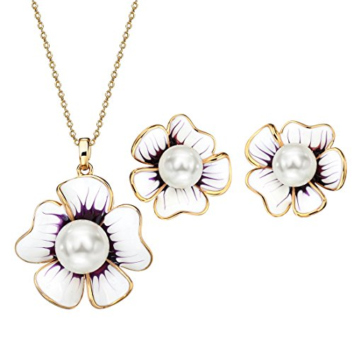 Neoglory Jewellery Anti-allergique Parures Forme Fleur Ensemble Collier Boucles d'Original Bijoux En Coffret