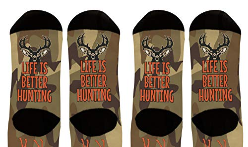 Hunting Gift Set Life Is Better Deer Hunter Socks Camouflage Crew Socks 2-Pairs Novelty Crew ()
