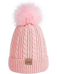 Kids Toddler Baby Winter Beanie Hat, Children's Warm Fleece Lined Knit Thick Ski Cap with Pom Pom for Boys Girls