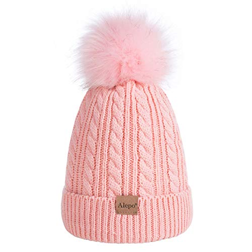 Kids Toddler Baby Winter Beanie Hat, Children's Warm Fleece Lined Knit Thick Ski Cap with Pom Pom for Boys Girls (Pink)