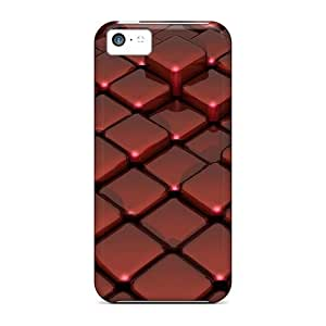 Defender Cases For Iphone 5c, 3d Red Glass On Box Floor Pattern