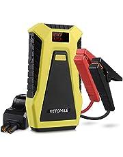 VETOMILE Arrancador de Coche 12000mAh 500A, 12V Jump Starter para Coches, Motos y Barcos (Motor de 3.0L Gas o 2.0L Diesel), Pantalla LCD, Dual 5V USB Salidas, Pinzas Inteligentes con Protecciones