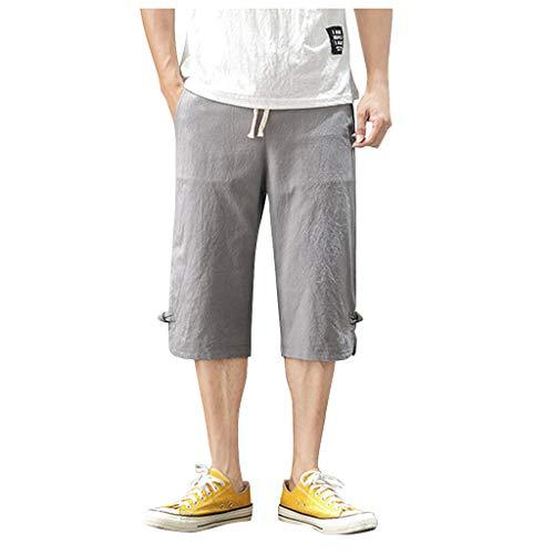 F_Gotal Men's Lightweight Multi Pocket Casual Cargo Shorts Gray