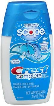 Crest Complete Multi-Benefit Toothpaste Whitening + Scope Liquid Gel Cool Peppermint - 4.6 oz, Pack of 5