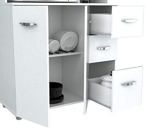 Inval America GCM-042 4 Door Microwave Storage Cabinet, Laricina White