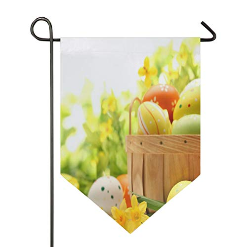 Ostereier Hintergrund Garden Flag Indoor & Outdoor Decorative Flags for Parade Sports Game Family Party Wall Banner Season Porch Lawn Double Sided 12 x 18.5 inches]()