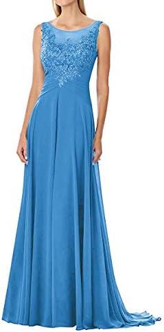 Abito da sposa in chiffon lungo abito da sera in pizzo, linea A, abito da mamma, vestito da festa per matrimonio Blu 56