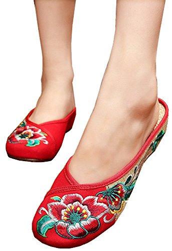 Cunzhai Donna Ricamo Rotondo Punta Chiusa Tessere Pantofole Oxford Stile Sandali 1-rosso