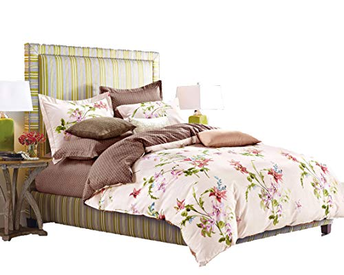 Cheap  Swanson Beddings Lily Blossom 3-Piece 100% Cotton Bedding Set: Duvet Cover Two..