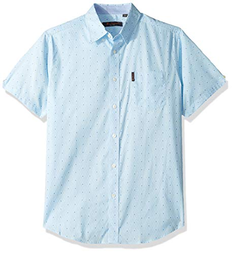 Ben Sherman Men's SS GEO Maze Print Shirt, Blue XL