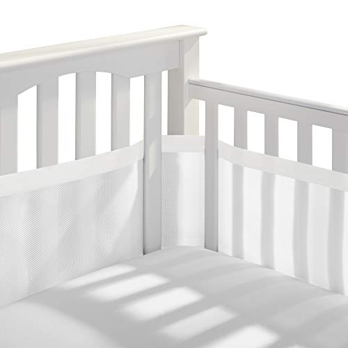 BreathableBaby Deluxe Patented, Safer for Baby, Anti-Bumper, Non-Padded, Breathable Mesh Crib Liner - White and Muslin Trim