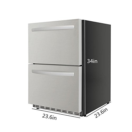 """Thor Kitchen 24/"""" Built-in Refrigerator 2 Drawers Under Counter Ventilated Coolin 5.3cu.ft HRF2401U"""