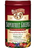 Barlean's SuperFruit Greens Powder - Strawberry Kiwi Flavor - 4 Canisters, 9.52 Ounce Each