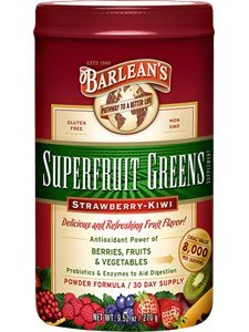 Barlean's SuperFruit Greens Powder - Strawberry Kiwi Flavor - 4 Canisters, 9.52 Ounce Each by Barlean's