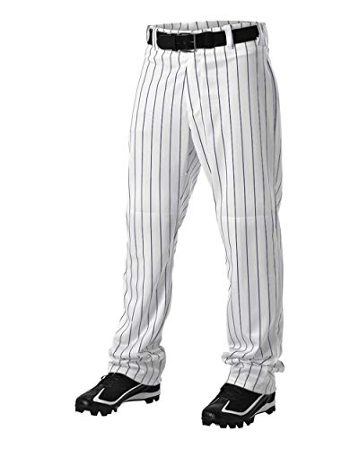 Alleson Athletic Adult Pinstripe Baseball Pant, White/Navy, Large
