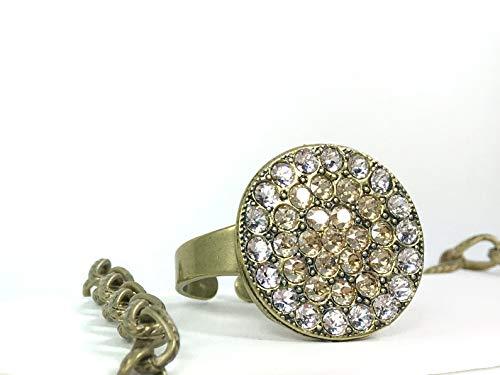 (Golden Shadow Medallion Ring, Swarovski Crystal Clear And Golden Shadow Elements Set in Designer Inspired Medallion Ring Setting - Antique Brass)